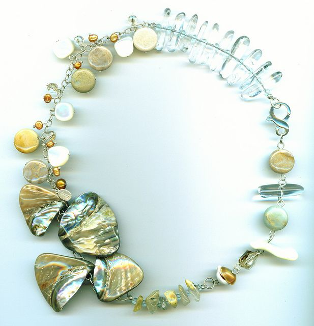 paua shell fossil coral aquamarine rock crystal single strand by Gionis Design, via Flickr
