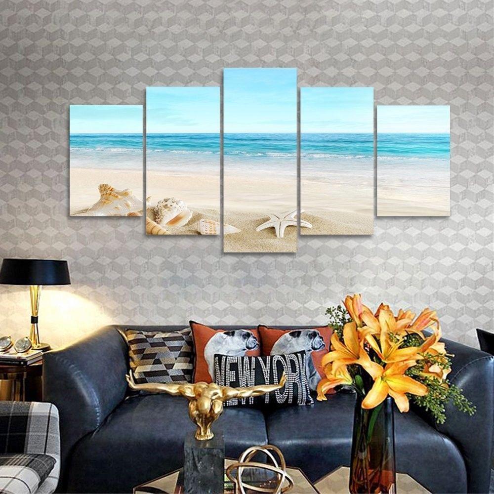 Blue sea wall art picture print big canvas framed home hang decor