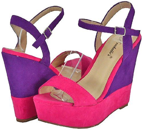 Breckelles Haley Hot Pink & Purple Women's Wedge Sandals