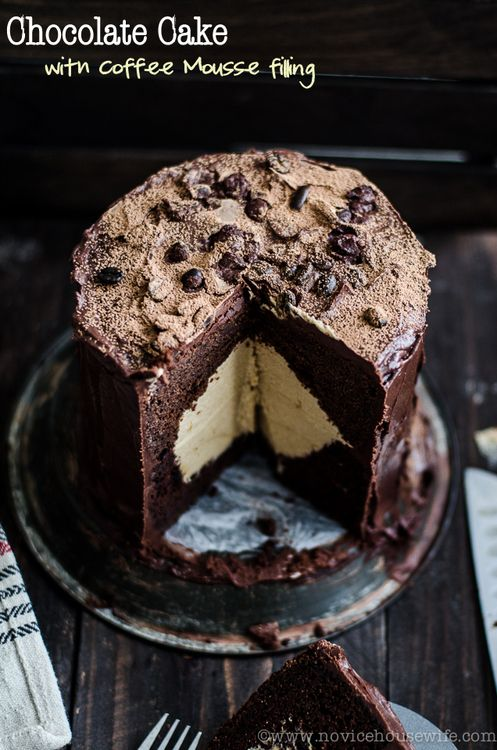 chocolate cake with caramel coffee mousse filling.