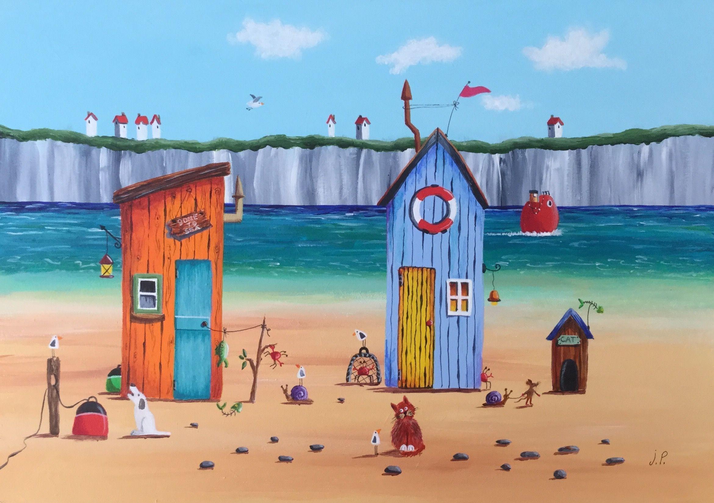 signed original. Beach Art print seaside fishing village.Print only unframed
