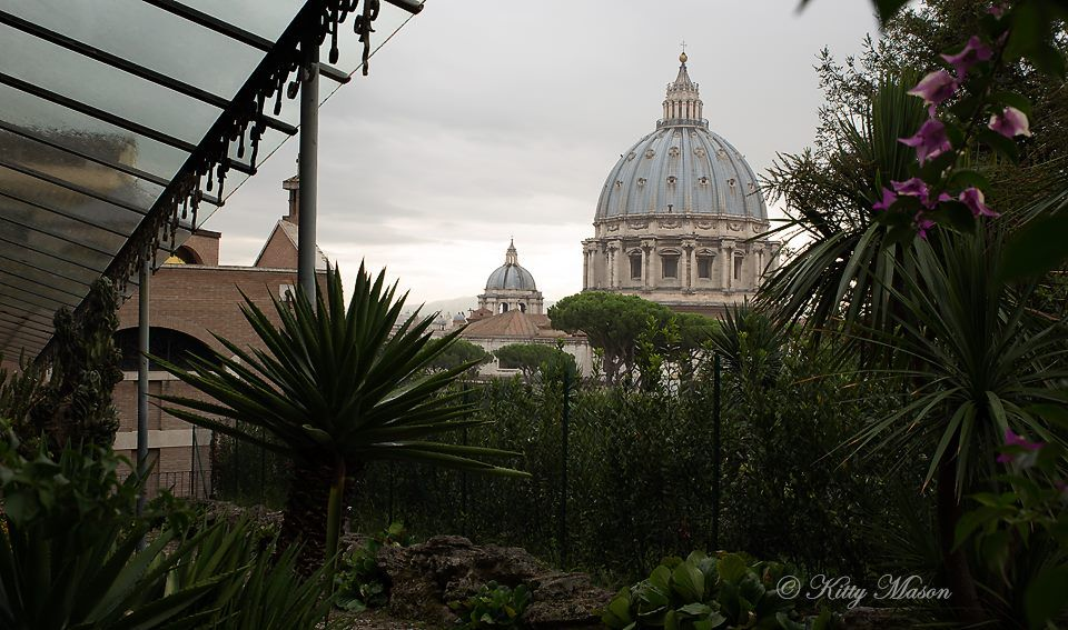 Inside The Vatican Gardens This Is A View Of The Residence Of Pope Emeritus Benedict Mater Ecclesiae Monastery The Dome Of St Peter S Basilica Is Visible Fro