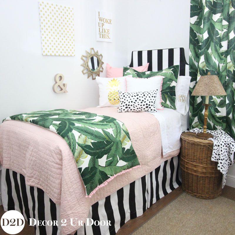 Tropical Palm Blush Dorm Bedding Set 2019 College Dorm