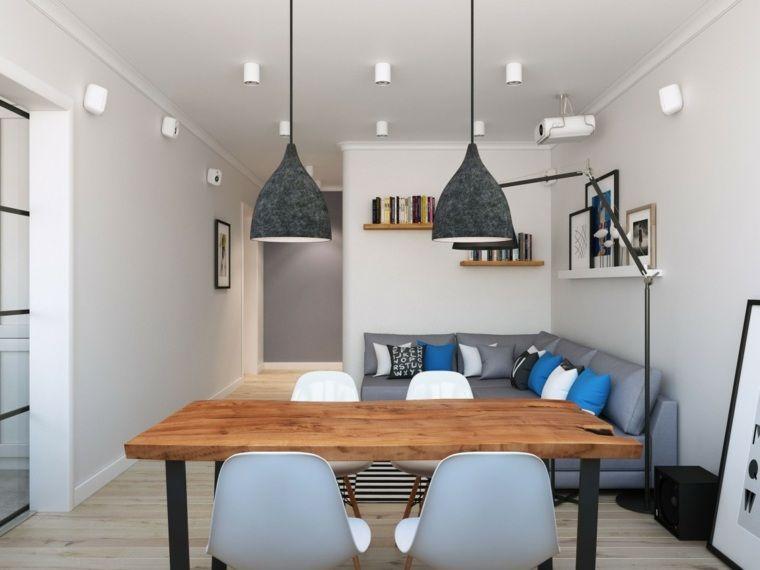 Intérieur appartement moderne style scandinave table en bois luminaire suspendu canapé dangle coussins