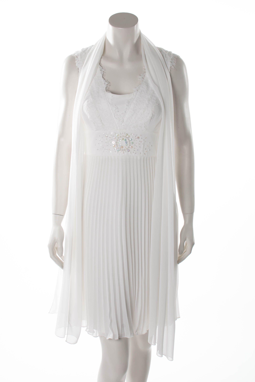 Standesamtkleid - Plissee - Off-White  Kleider, Plissee kleid