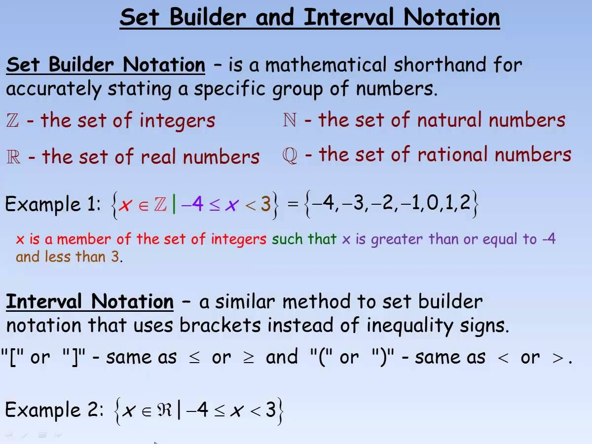 Interval Notation Or For Statements Set Builder And Interval Notation Mp4 Youtube Notations Rational Numbers Sets Math
