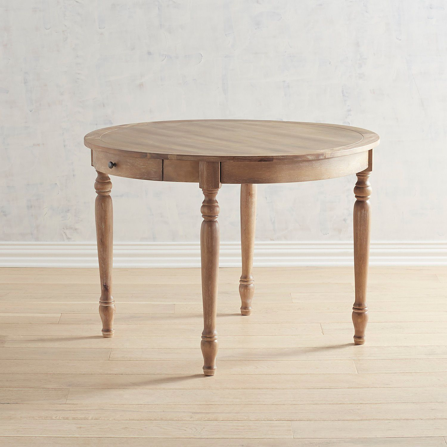 Grace Natural Stonewash Round Dining Table With Drawers Dining