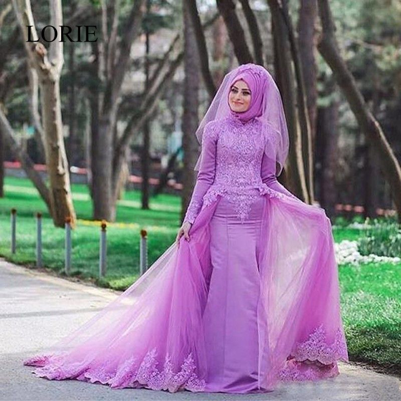 Pretty Muslim Purple Mermaid Wedding Dresses Turkey Lace Beaded