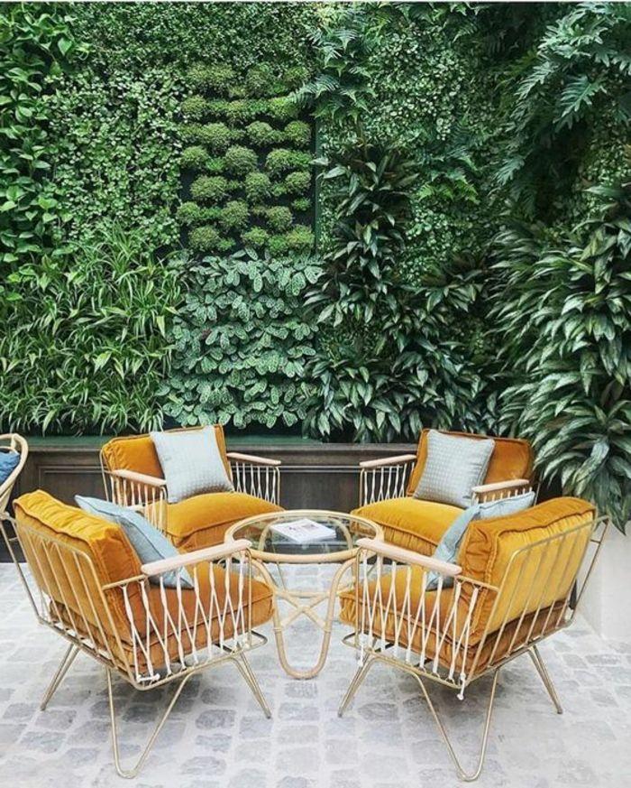 aménagement extérieur maison, décoration murale extérieure, mur vert ...