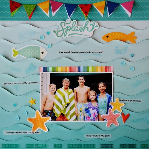 Reconstructed patterned paper from @pebblesinc to show off a summer fun picture at the pool