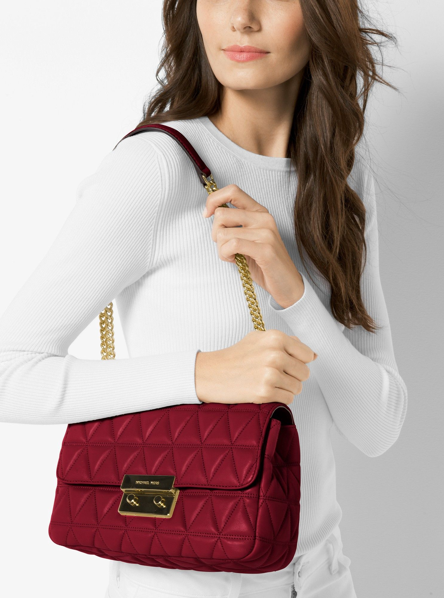 f31bc1971a93 Michael Kors Sloan Large Quilted-Leather Shoulder Bag - Maroon ...