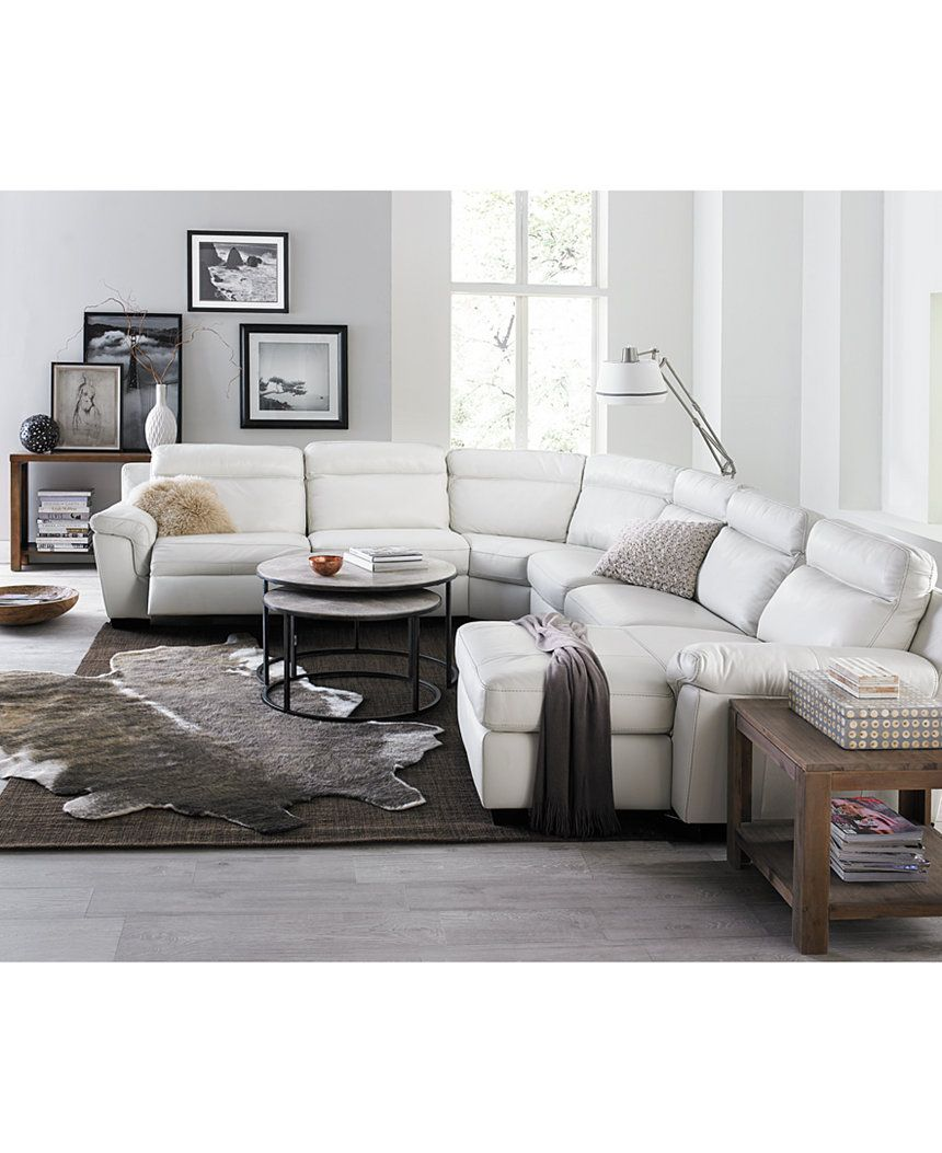 Julius 6-Piece Leather Sectional with Chaise & 2 Power Recliners ...