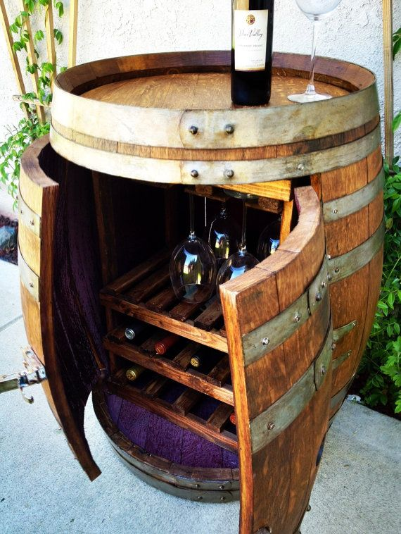 Wine Barrel Cabinet With Wine And Glass By