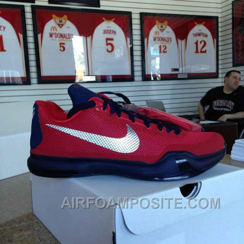 Kobe 10 Red Mesh Metallic Silver Navy Blue New Basketball Shoes