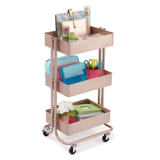 The Rose Gold Lexington 3 Tier Rolling Cart By Recollections At Michaels Your Makeup Essentials And Keep Them Organized On This