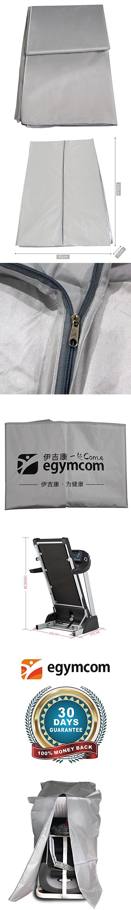 Treadmill Cover, Egymcom Running Machine Protective Folding Cover Dustproof Waterproof Outdoor Cover(Silver Color)