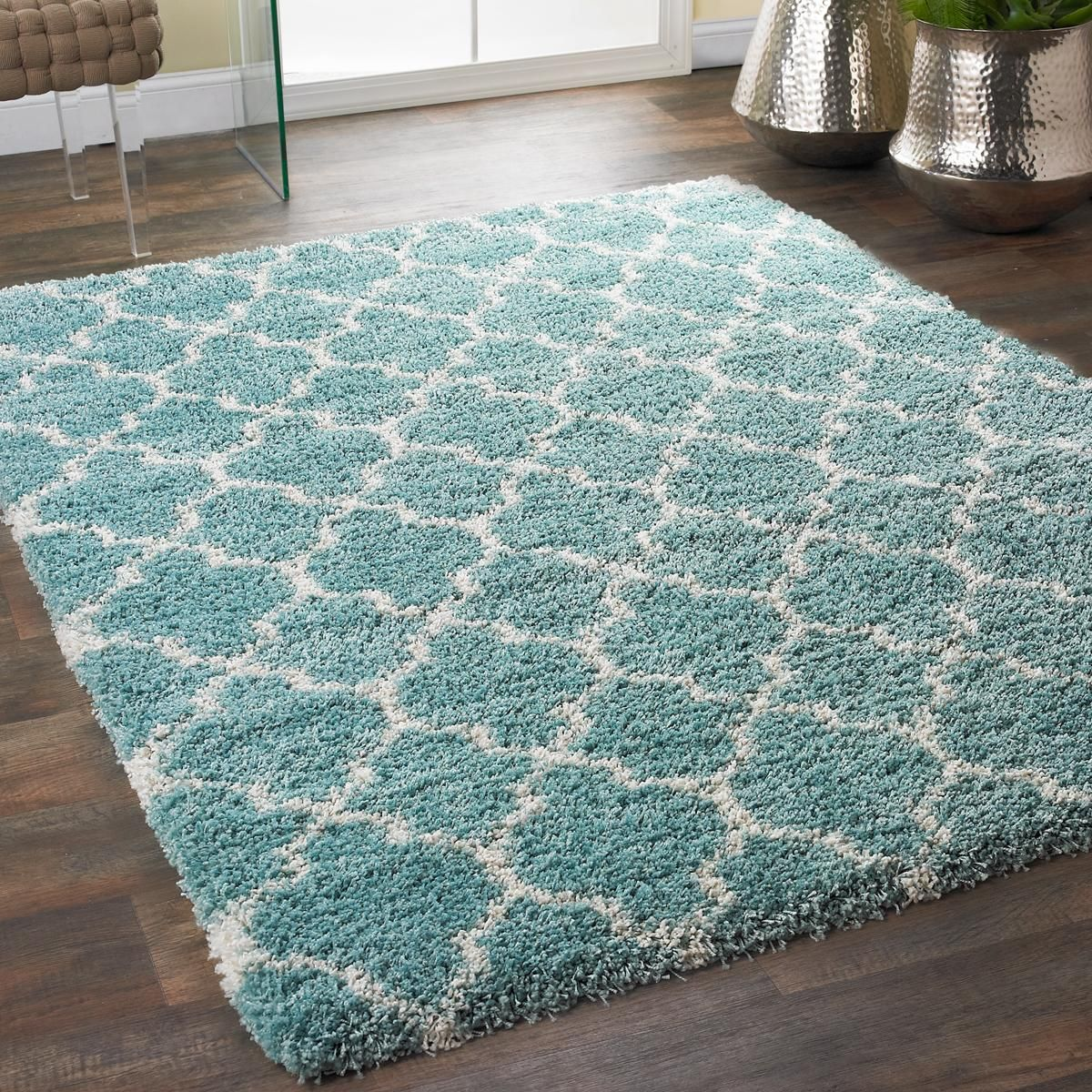 Lofty Trellis Plush Area Rug In 2019 Turquoise Teal