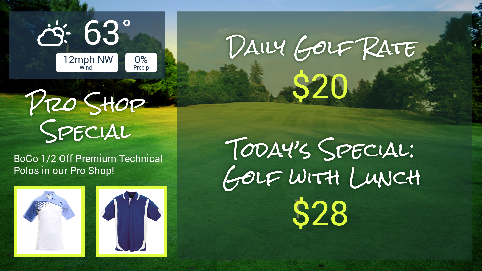 Custom Digital Menu at a Golf Pro Shop with Weather widget and Cross-Promotion from Menuat.com