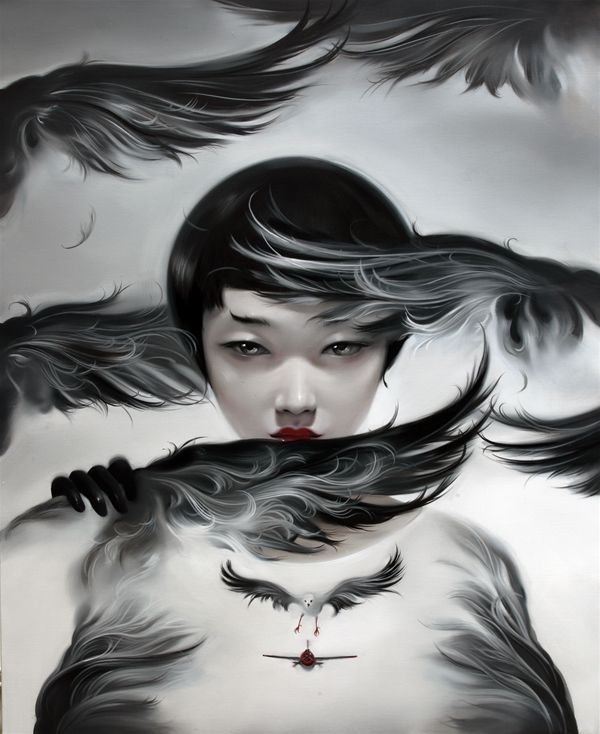 """""""Beijing-based painter Mu Lei creates a dark and glossy world where women amassed with feathers reign. The surreal realm offers an unusual blend of dark, moody sensuality merged with video game aesthetics."""""""