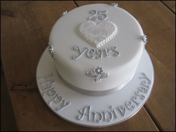 Silver Jubilee Wedding Anniversary Cakes With Images 25th