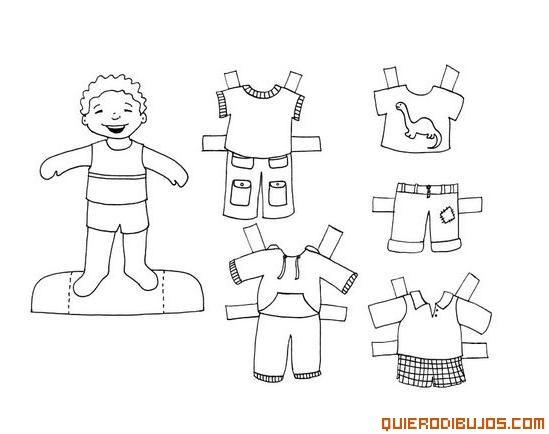 Dibujos Recortables Para Colorear E Imprimir: Chico Y Ropas Recortables
