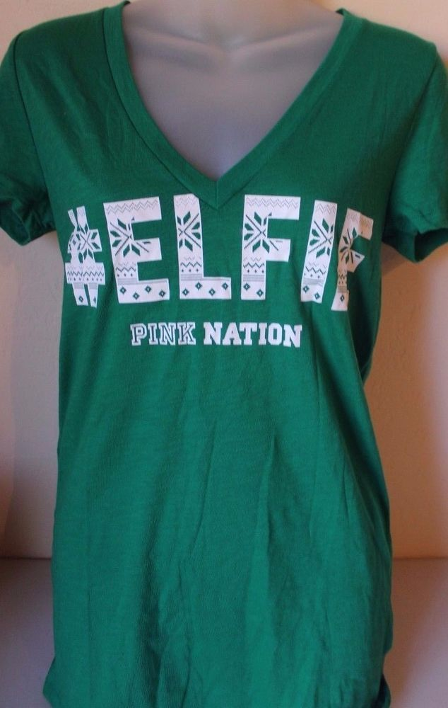 d314c2806 PINK Nation Victoria's Secret Green #Elfie Christmas Tee Shirt XS X Small -  NEW #VictoriasSecret #GraphicTee