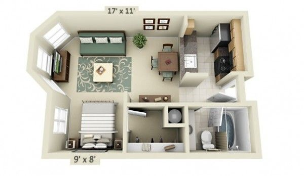 Studio Apartment Floor Plans | Apartment floor plans, Small ...