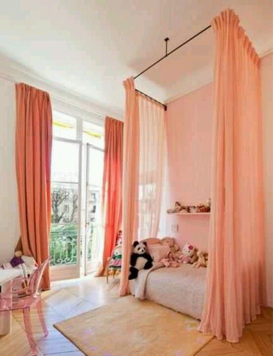 For a modern take on a traditional canopy bed try bed curtains. Instead of being mounted on a canopy bed these curtains look great hung from the ceiling. & Would love this for my 13 yr old! | Kids Stuff | Pinterest | Room ...
