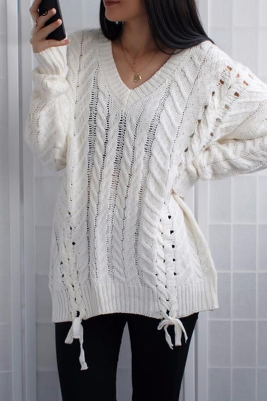 26a9dc7291d 8DESS Lace Up V Neck Knitted Sweater Jumper Feamle Fashion Hollow Out  Winter Sweater Pullover