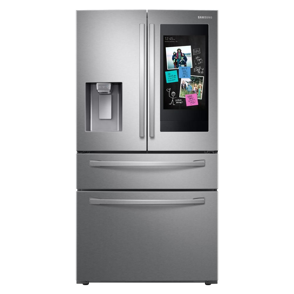 Samsung 22 2 Cu Ft Family Hub 4 Door French Door Smart Refrigerator In Fingerprint Resistant French Door Refrigerator Family Hub Family Hub Refrigerator