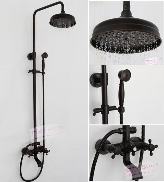 Oil Rubbed Bronze Bathroom Rain Shower Faucet Set Shower Kit B18F-A ...