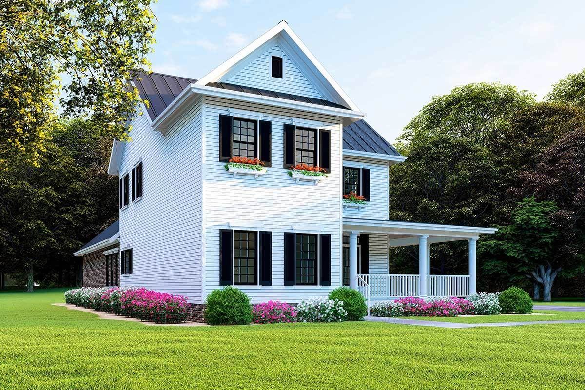 Plan MK New American House Plan with LShaped Porch and
