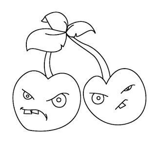How To Draw Plants Vs Zombies Cherries Draw Central Plant Zombie Coloring Pages Plants Vs Zombies