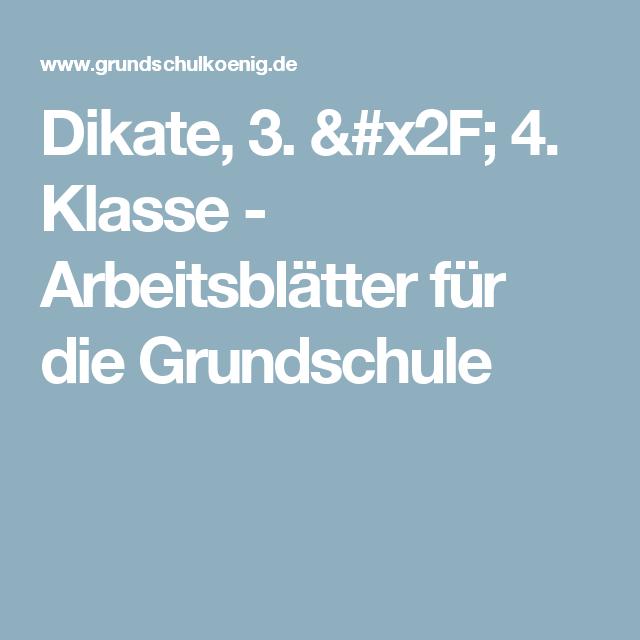 Dikate, 3. / 4. Klasse - Arbeitsblätter für die Grundschule ...