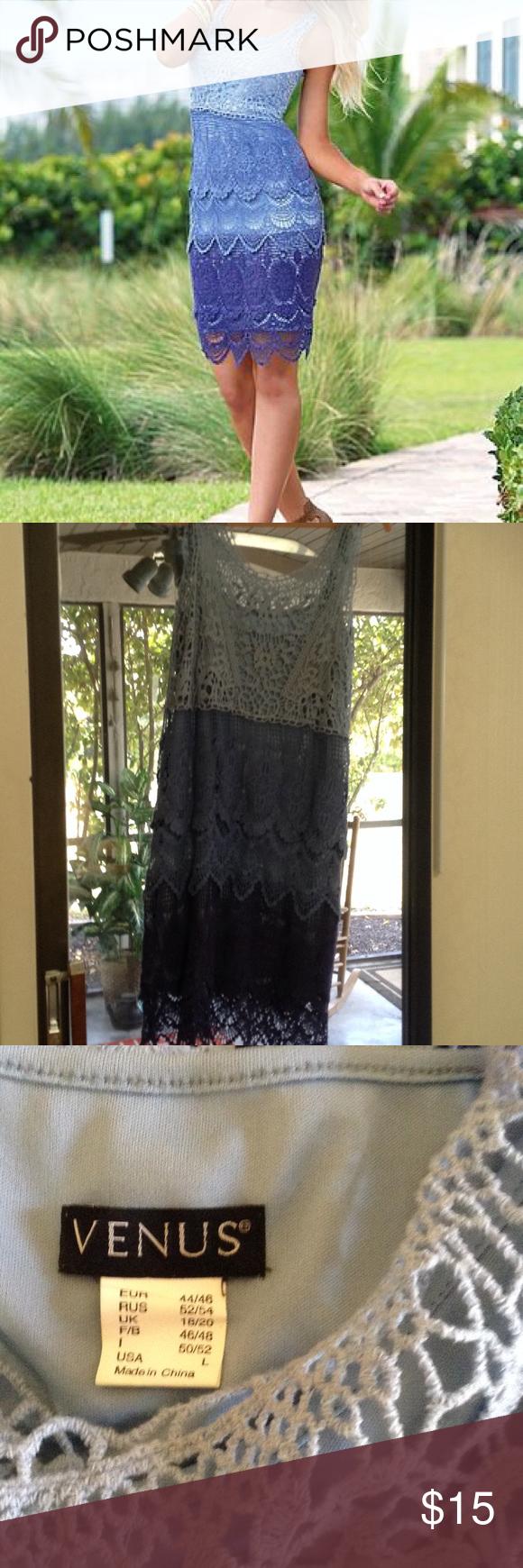 Venus crochet dress Shades of blue. Has a separate blue slip lining VENUS Dresses Mini