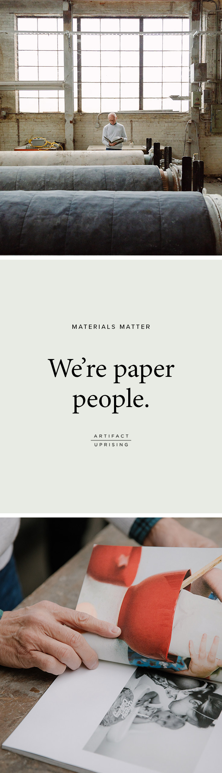 We're paper people. Find out 'why' in the short film below. Watch the story behind the recycled paper in @artifactuprsng's hardcover and softcover photo books.