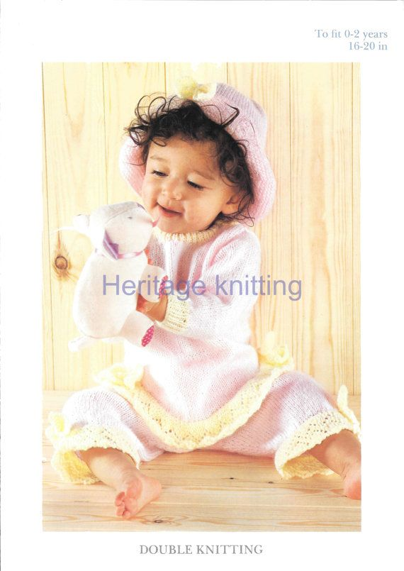 BABY GIRLS Top trousers and hat dk knitting by Heritageknitting1