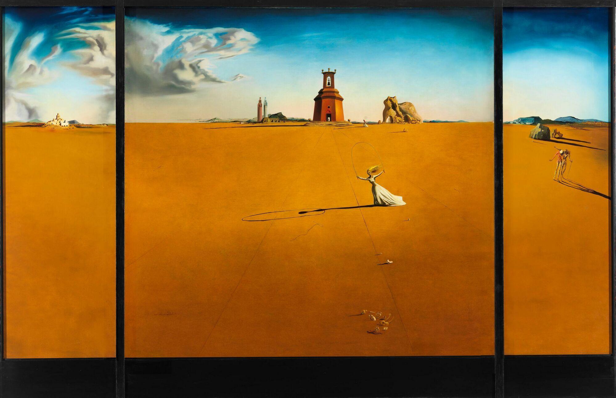 Salvador Dali Landschap Met Een Meisje Dat Touwtje Springt 1936 Salvador Dali Dali Paintings Alice S Adventures In Wonderland