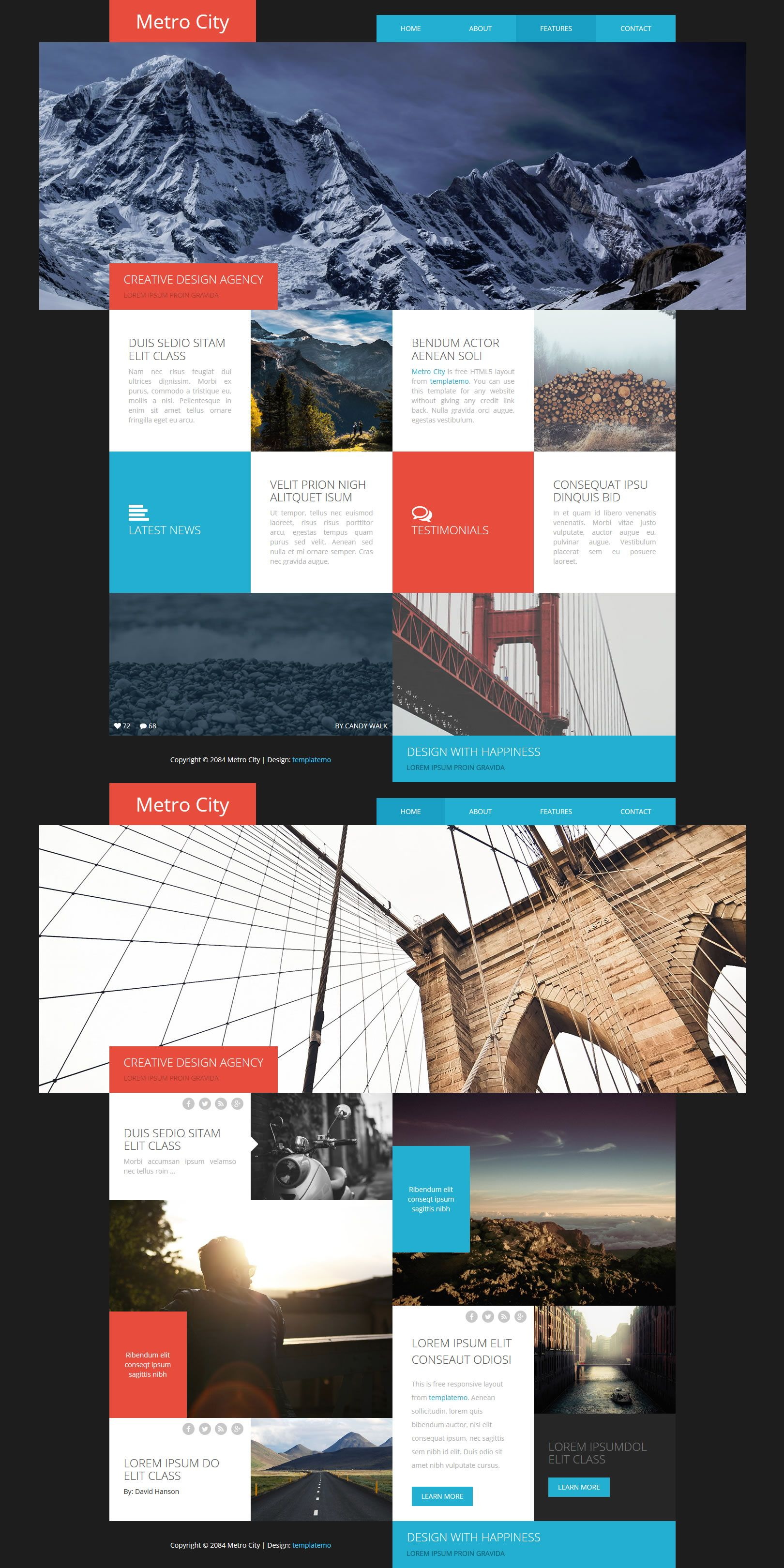 Metro City Metro Style Grid Blocks For Different Contents This Template Incorporates Bootstrap V3 3 5 Respon Testimonials Design Html And Css Templates City