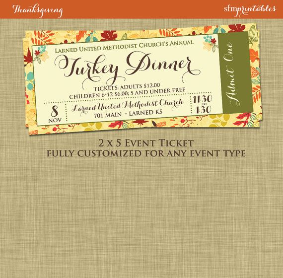 Fall Turkey Dinner Event Ticket Harvest Thanksgiving Invitation - ball ticket template