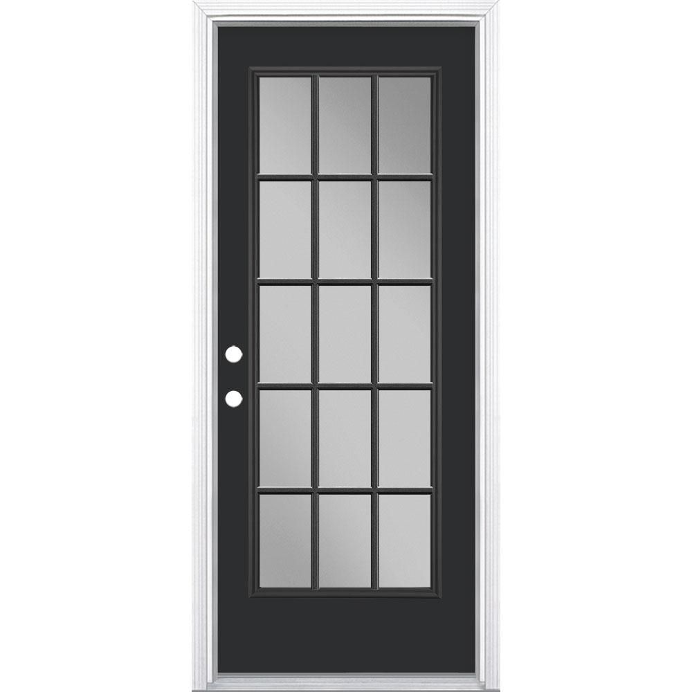Masonite 32 In X 80 In 15 Lite Right Hand Inswing Painted Steel Prehung Front Exterior Door With Brickmold Jet Black Vinyl Frames Exterior Front Doors Exterior Doors