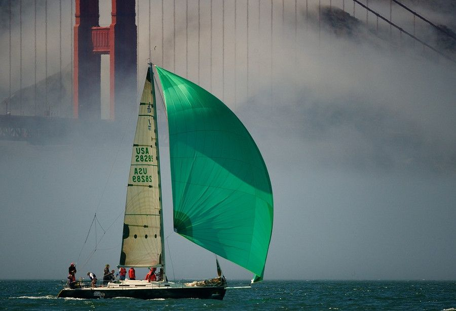 Green with images sailing yacht