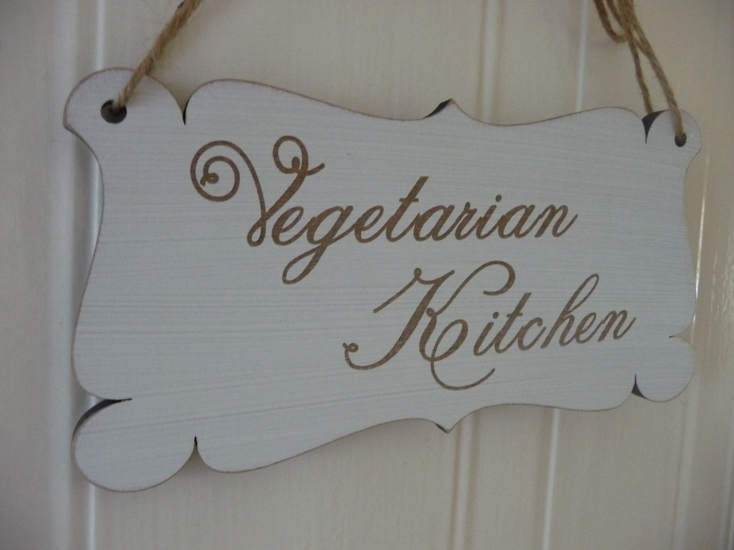 Vegetarian Kitchen Sign, Shabby Chic Kitchen Door Sign, Vegan Engraved Sign, Vegan Home Decor, Kitchen Wall Decor, Wooden Sign by Crafu on Etsy