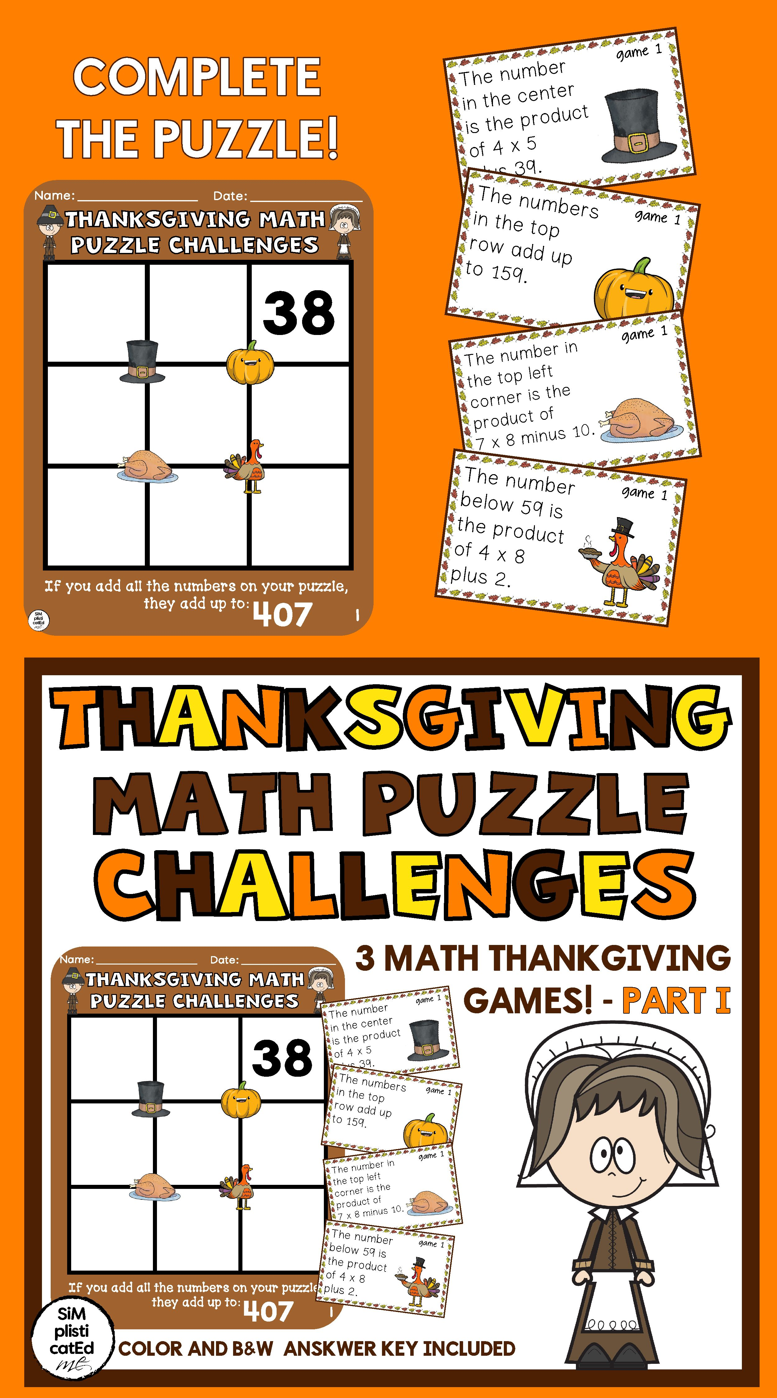Thanksgiving Math Challenges Multiplication Addition