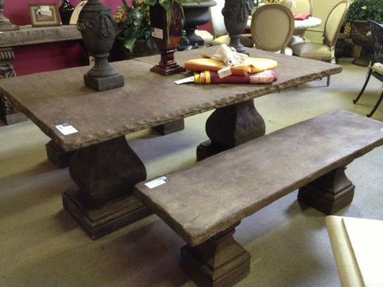 Elegant Earth Stone Table And Benches Table: List $2258, Sale $1316, 72w X