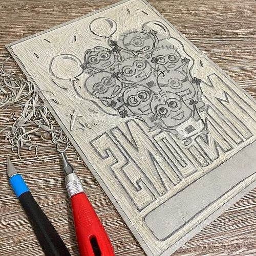 #TodaysDoodle (No. 243) Work In Progress Linocut #5: still linocutting Minions sketch #LongProcess | by maccymacx