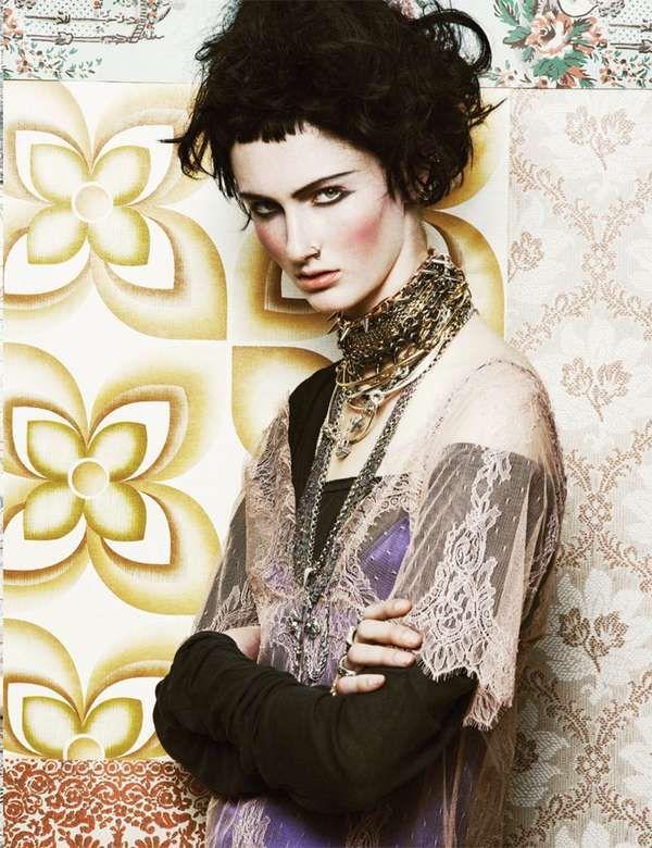 Eclectic Goth Editorials - The Velour Magazine 'Paste Together' Photoshoot Stars Mackenzie Drazan