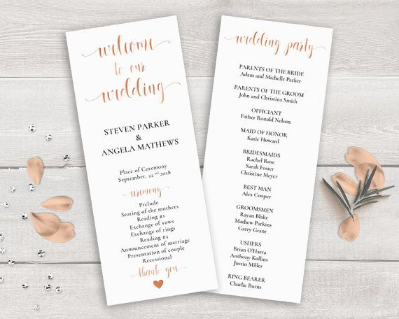 rose gold wedding program template order of ceremony printable
