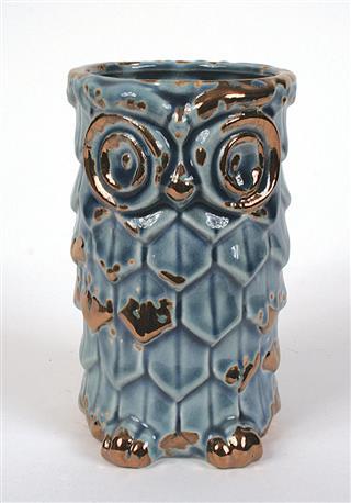 """4"""" Ceramic Owl Vase, Blue"""