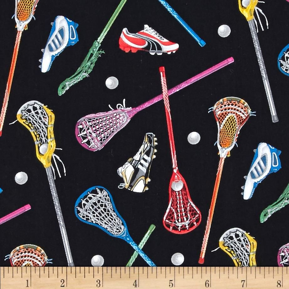 Stick With It Lacrosse Athletes Playing Lax Royal Blue Cotton Fabric by the Yard